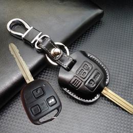 Lexus de couro 2 3 Botões Chave Do Carro Shell Case capa para Toyota Corolla RAV4 PRADO YARIS land cruiser chave titular carteira chaveiro acessórios cheap toyota yaris de Fornecedores de toyota yaris