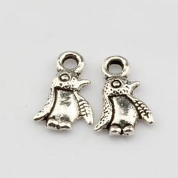 Wholesale jewelry penguin pendant - Hot ! 500pcs Antique Silver Alloy Penguin Charm Pendant DIY Jewelry 7x 11mm