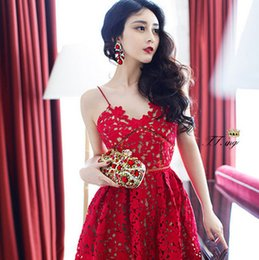 Wholesale elegant print dresses - High quality new runway dongguan_wholesale elegant lace dresses summer hollow out the dress with shoulder-straps