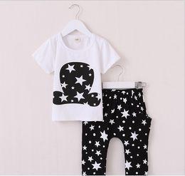 Wholesale Boys Pants Stars Pocket - 2016 Summer Kids Magician Hat Short Sleeve T-shirt+Stars Printed Harem Pants 2pcs Sets Children Outfits Baby Boys Girls Suit