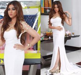 Wholesale White Short Dress Bolero - Myriam Fares Dress White and Gold Beaded Crystal Bolero Saudi Arabia Evening Dresses Side Slit Mermaid Dubai Prom Gowns