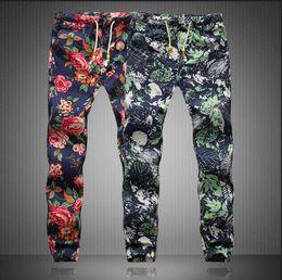 Wholesale Boy Pants Trousers - Men's Pants 2017 Spring Men Floral Print Pants Man Elastic Waist Capris Boys Long Trousers Men Plus Size M-5XL Linen Trousers AFM002