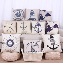 Wholesale compass pillow - sailing anchor rudder map Compass patter Pillow Case Cotton Linen Cushion Cover square Throw pillow Covers Home Textiles Pillowcase 240284