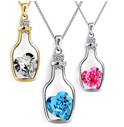 Wholesale Wishing Bottle Heart - Wishing Bottle Jewelry Heart Pendant Necklaces Fashion Crystal Sparkle Stone Sautoir for girls Sale Cheap 8colors