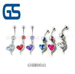 Wholesale Nice Body Jewelry - 2016 hot heart Belly Button Navel Rings Body Piercing Jewelry Dangle button rings nice quality free ship
