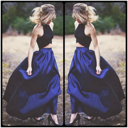 Wholesale Dark Coloured Evening Dress - 2016 Sharp Blue Colour Long Skirt and Black Blouse Two Pieces Prom Dresses Elegant Evening Dresses Wear