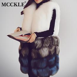 X201711 MCCKLE Faux Fox Fur Coletes de Luxo das mulheres 2017 Moda Inverno Grossa Sem Mangas Casaco De Pele de Alta Qualidade Elegante Casaco Feminino de Fornecedores de pele de raposa tingida