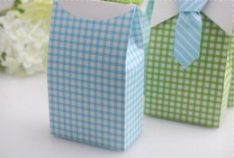 Wholesale Square Wedding Cake Boxes - wedding favor candy box--Cute Boy Favor Box baby shower party candy sweet box cupcake cake box 100pcs lot