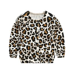 Wholesale European Cardigans - Kids Knitted Leopard Cardigan O-neck Crystal Buttons Single Breasted Leopard Printed Sweater Spring Autumn Baby Boy Girls 2-6T