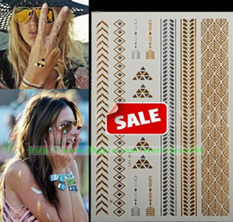 Wholesale Glitters Tattoos Stickers - Gold Silver Metalic glitter Temporary Tattoos Jewelry Stickers sexy Body eye face back neck Art sticker