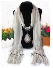 Wholesale Embellished Pendants - HWJ1002 Tear Drop Pendant Scarves European and American trade Polyester Resin fringed Scarves jersey alloy jewelach Shawl 160x50cm.20pcs lot