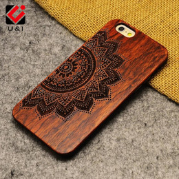 Wholesale Iphone 5s Covers Wood - Luxury Mandala Wood Phone Case for iPhone x 5 5s 6 6s 6plus 7 7plus 8 plus Retro Flower Skull Protector Back Cover