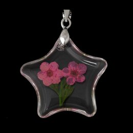 Wholesale Transparent Real Stars - Resin Charm Pendants Star Transparent Made With Fuchsia Real Flower Pattern 3.8cm x 29.0mm,5 PCs 2015 new