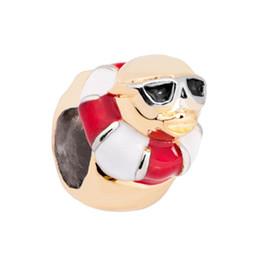 Pandora charme perlen gläser online-Rot Weiß Schwimmen Schildkröte mit Brille Europäischen Sealife Bead Metall Charms Armband mit großem Loch Pandora Chamilia kompatibel