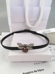 Wholesale bee slides - Luxury brand designer Fashion Charming women rhinestone Bees leather Choker lady Necklack