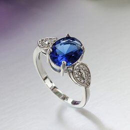 Wholesale Jewelry Blue Stone Rings - Orsa Jewelry Rare Blue Cubic Zircon Engagement Ring White Gold Plated Jewelry For Women Fashion Jewelry PR21