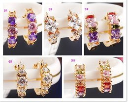 Wholesale Earring Multicolor Crystals - Ear Clip Earrings 18K Gold Multicolor Zircon Stud Earrings Women Fashion Dresses Accessory Earrings 5 Designs U choose HZ