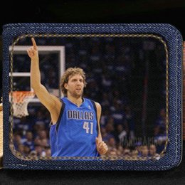 Wholesale Note Basketball Case - Dirk Werner Nowitzki wallet Basketball purse Customized star short cash note case Money notecase Leather burse bag Card holders