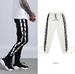 Wholesale usa pants - USA Men Sports Joggers Pants Casual Bandage Design Stylish Justin Biber Hip Hop Clothing Trousers