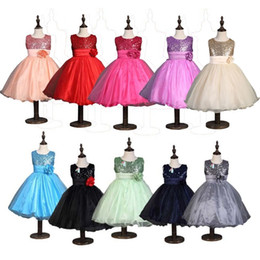 Wholesale Chiffon Rose Bows - PrettyBaby children 3D rose flower dress girls sleeveless sequin dress summer princess dress bow floral chiffon dress with belt in stock