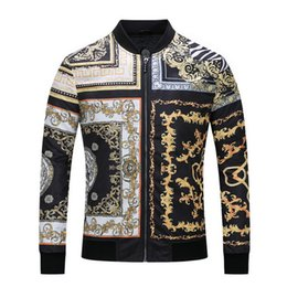 Wholesale Double Collar Shirt Men - Wholesale 2017 Autumn Fashion Brand Men Colthes Slim Fit Men Long Sleeve jacket Medusa gold print jacket Men Casual Business jacket 2xl