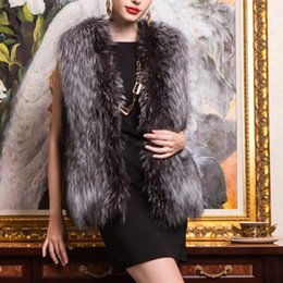 Wholesale Womens Fashion Fur Vest - Wholesale-Autumn and Winter warm New Silver Fox Fur Vest gilet outerwear womens fashion fur coat plus size S-3XL MH005