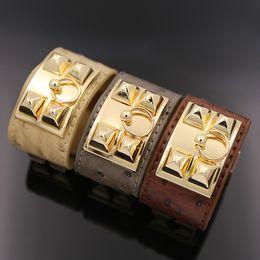 Wholesale Gold Black Metal Bangle - New Stainless Steel rotating word metal buckles leather bracelet simulation PU punk rivets H bracelet lovers leather Bangles men