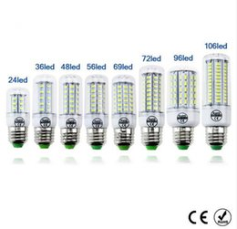 Wholesale E27 White - LED lamp Bulb E27 E14 Candle Light Bombillas 220V SMD 5730 Home Decoration Lamp for Chandelier Spotlight 24 36 48 56 69 106LEDs