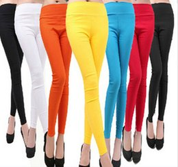Wholesale Leggings Candy - New 2016 Women's Fashion High Waist Leggings Women Capris Stretch Candy Color Pencil Pants For Women Trousers Pantalones SJM