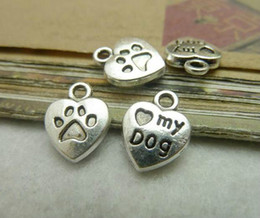 Wholesale Mini Love - 200pcs 10x13mm Antique Bronze Silver Mini Heart Love My Dog Charms Pendant Free