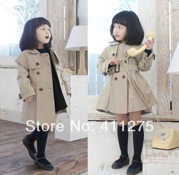 Wholesale Kids Wind Coat - Wholesale-retail children kids autumn dress clothing girl belts wind coat dresses,button coats outerwear girls pretty Trench