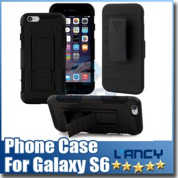 Wholesale Hard Holster - For Samsung Galaxy S6 Future Armor Impact Hybrid Hard Case Cover + Belt Clip Holster Kickstand Combo iphone6 Plus Note 4 Free Ship