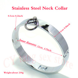 Wholesale Metal Bondage Collars - 4.7Inch Stainless Steel Metal Neck Collar Slave Bondage Cosplay Fetish Sex Toys Adult Games