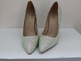 Argentina Shinny Crystal Rhinestone Novio zapatos de boda bombas delgados tacones altos de cuero zapatos de vestir para fiesta de baile por encargo 2016 bombas femeninas supplier custom prom heels Suministro