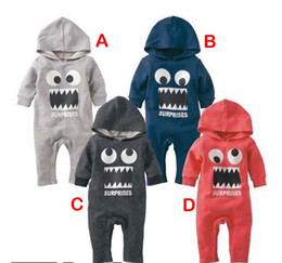 Wholesale Hooded Jumpsuit Wholesale - Autumn Winter Cartoon Baby Clothing Romper Hoodies Funny BIg Eyes Tooth Toddler Babies Rompers Inant Jumpsuits B001