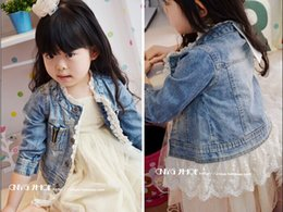 Wholesale Long Lace Spring Coats - 2015 Brand New Baby Children Girl's Kids Long Sleeve Leisure Jacket Blue 100% Cotton Washed Denim Lace Cowboy coat 5 Pcs Lot