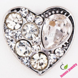 Wholesale Stainless Steel Necklace Charm Set - Snap Button lots crystal love heart Enamel metal Interchangeable buttons Jewelry fit snap button Charms bracelet or necklace