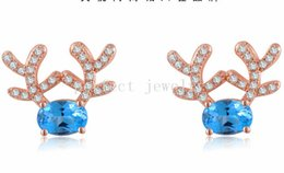 Wholesale Blue Topaz White Gold Earrings - Stud earring Natural real blue topaz earrings 925 sterling silver plated 18k white gold earring Free shipping Perfect Jewelry#DH-15070228