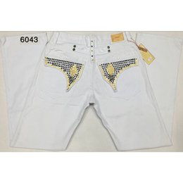 Wholesale American Flag Men Pants - White Robin Jeans Men With Wings American Flag JEANS Straight Denim Cowboy Famous Brand Slim Designer Men Pants Size 32-42