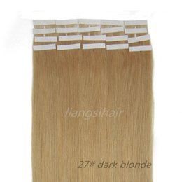 """Wholesale Tape Hair Extensions 27 - Tape Skin Weft Hair Bundle Brazilian Indian Malaysian Peruvian 7A Remy Human Hair styles Extensions 18""""-26"""" 20pcsx5 27# Dark Blonde"""