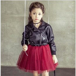 Wholesale Black Leather Long Sleeve Dress - 2015 Autumn Dresses Rock Girls Dress PU Leather Tulle Splicing Red Princess Long Sleeve Children Kids Dress Clothing Black K5025