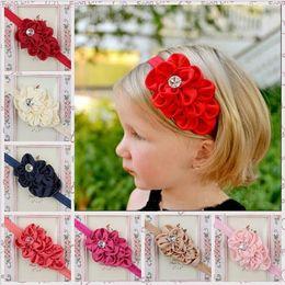 Wholesale Girl Ornaments - Baby Girls flower bud headbands flowers Kids Hair Bands Ornaments Infant Kids Hair Accessories Headbands for baby girls 10 colors KHA129