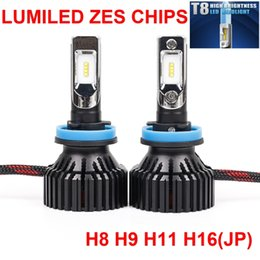 Wholesale Automobile Instruments - 1 Set H8 H9 H11 H16JP 60W 8000LM T8 LED Headlight LUMILED ZES Chips 16SMD Pure White 6K All-in-one Built-in Fan Automobile Driving Fog Lamp