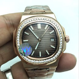 Wholesale Diver Automatic Steel - 2017 new fashion diamond watch rose gold PP mens watches sapphire glass automatic self winding AAA+ quality luminous wristwatches