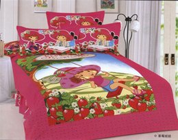 Wholesale Strawberry Shortcake Bedding Sets - girl swing strawberry shortcake fabric bedding set cotton reversible woven twin children Moranguinho duvet cover comforter sets