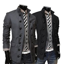 Wholesale Mens Double Breasted Blazer - 2014 new fashion slim men's suits Casual men's coat mens clothing Double-breasted suit collar men's jacket gray 3460