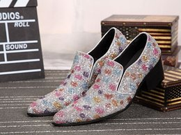 Wholesale Colorful Wedding Wedges - factory sell new arrival hot sell pointed toe slip on shinny colorful glitter evening party wedding party shoes men high heels