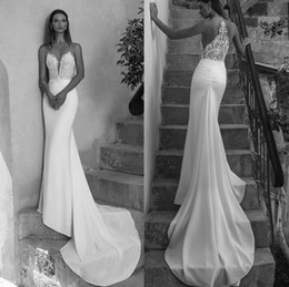 Wholesale Lace Plunging Sexy Wedding Dress - 2018 Newest Sheer Backless Sheath Mermaid Wedding Dresses Sexy Plunging V Neck Appliqued Long Bridal Gowns