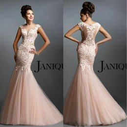 Wholesale Janique Prom - 2016 Janique Sheer Bateau Prom Dresses Mermaid Cap Sleeves Lace Beaded Illusion Back Tulle Long Sweep Train Evening Gowns BO9803