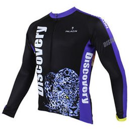 Wholesale Discovery Sleeve - Wholesale-2015 Discovery Long Sleeve Men's Cycling Jerseys Leopard Bicycle Sport Clothing Top